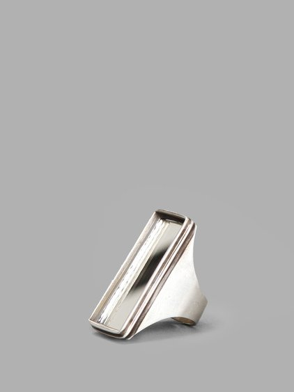 Ann Demeulemeester Silver Rectangular Ring With Mirror