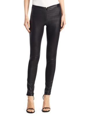 Alice And Olivia Alice + Olivia Maddox Chain-detail Leather Leggings In Black