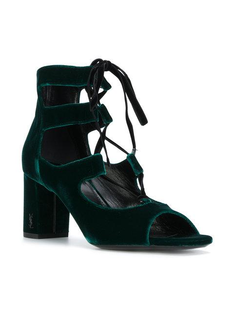 Saint Laurent Loulou Ghillie Sandal In Green