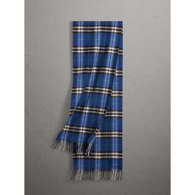 Burberry Check Cashmere Scarf In Bright Navy