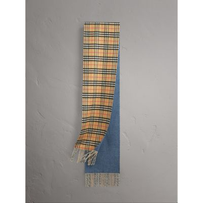Burberry Long Reversible Vintage Check Double-faced Cashmere Scarf In Stone Blue