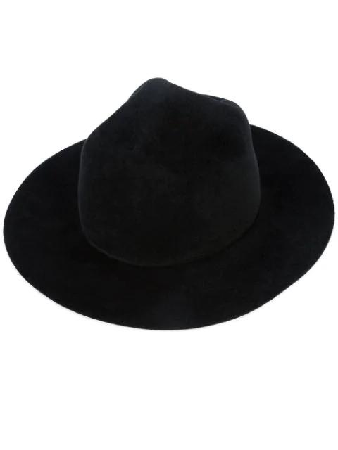 Yohji Yamamoto Broad Brim Wool  Hat In White
