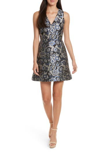 Alice And Olivia Alice + Olivia Malin Fit-and-flare Dress In Blue Multi