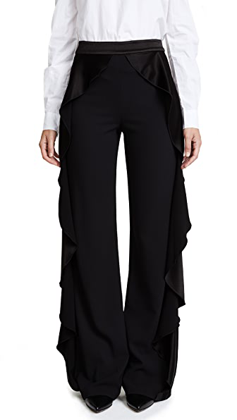 Alice And Olivia Alice + Olivia Wallace Side-ruffle Pants In Black