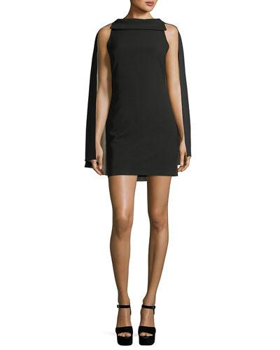 Alice And Olivia 'neely' Cape Back Overlay Crepe Cady Dress