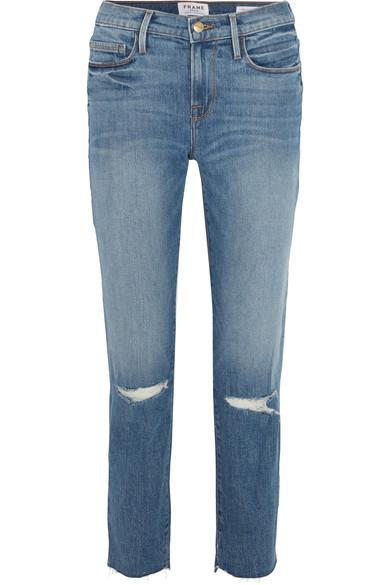 Frame Le Nouveau Distressed High-rise Straight-leg Jeans In Mid Denim