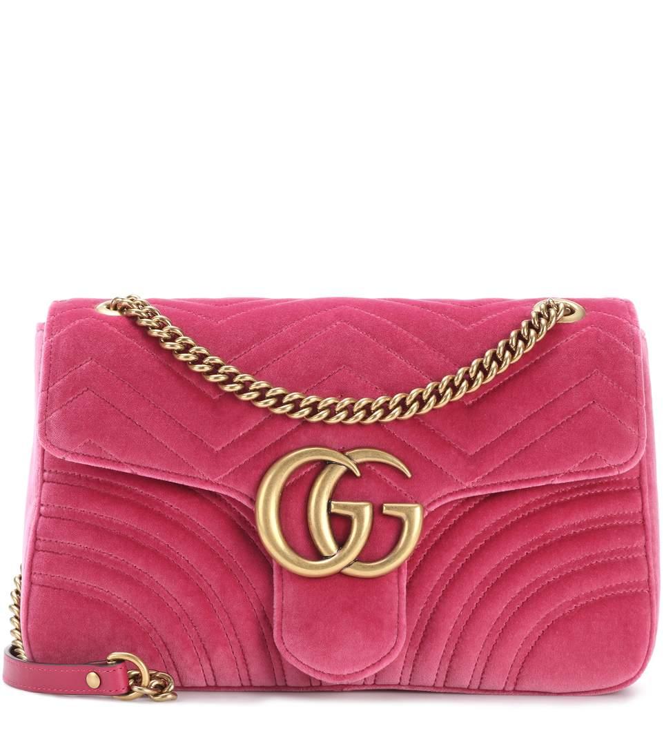 930e4b5f5fd47c Gucci Medium Gg Marmont 2.0 Matelasse Velvet Shoulder Bag - Purple In Light  Rasplerry