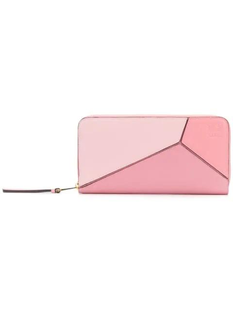 Loewe Puzzle Zip-around Leather Wallet In Soft Pink Candy Dark Pink