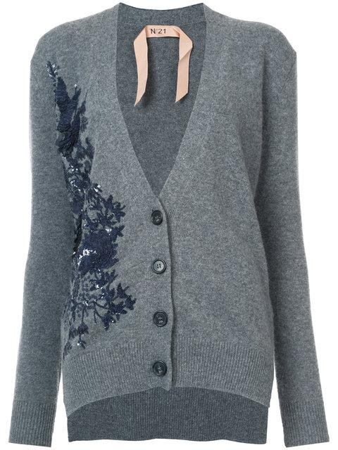 N°21 Wool Cardigan With Sequins And Embroidery In Grey