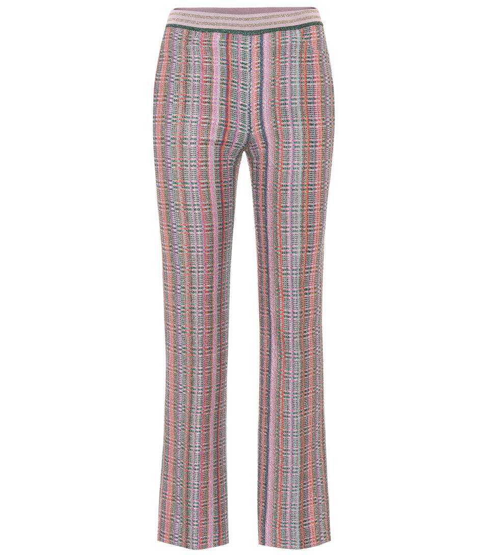 Missoni Check Knit Crop Flare Pants In Check LamÉ