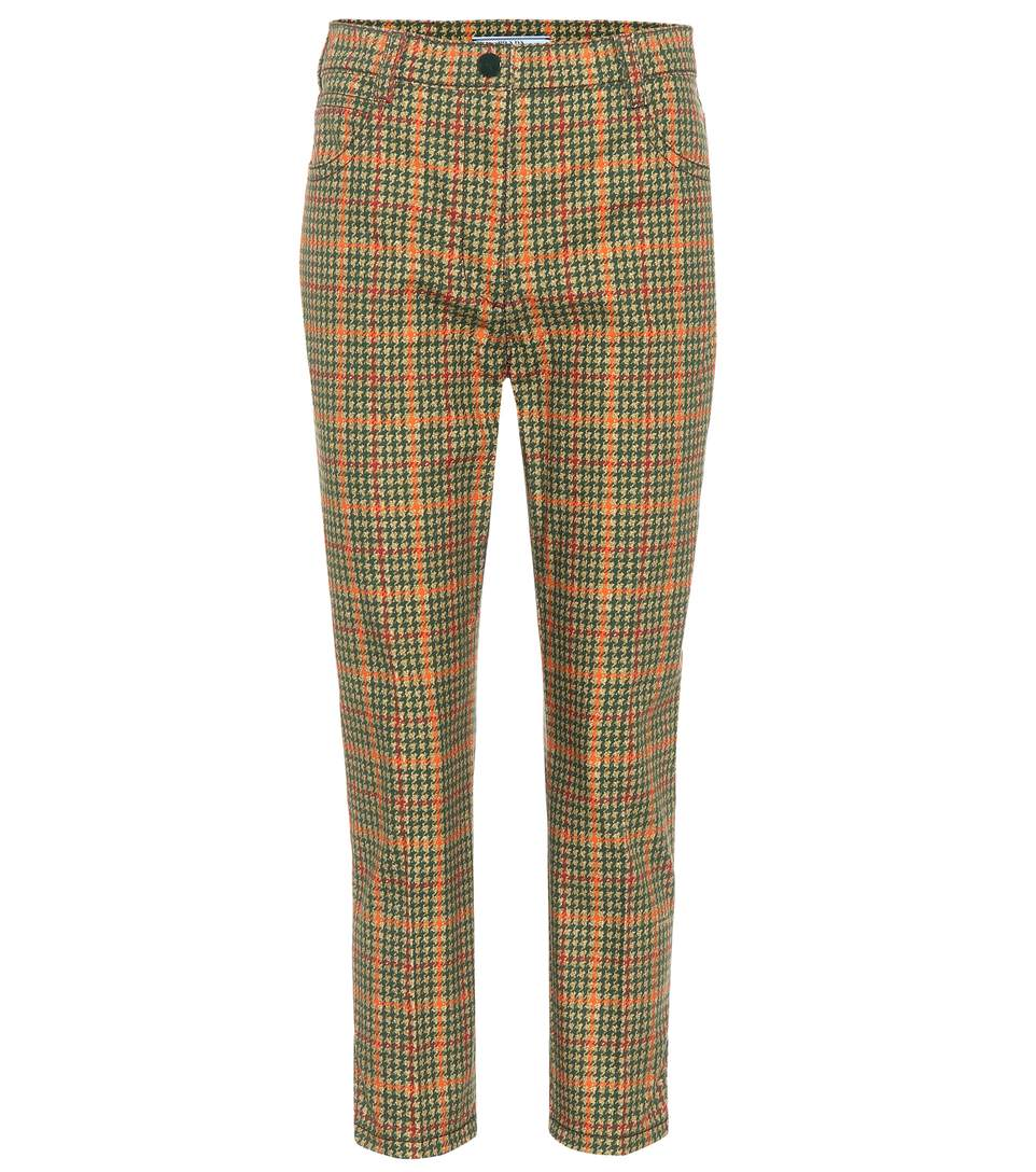 Prada Checked Cropped Trousers In Multicoloured
