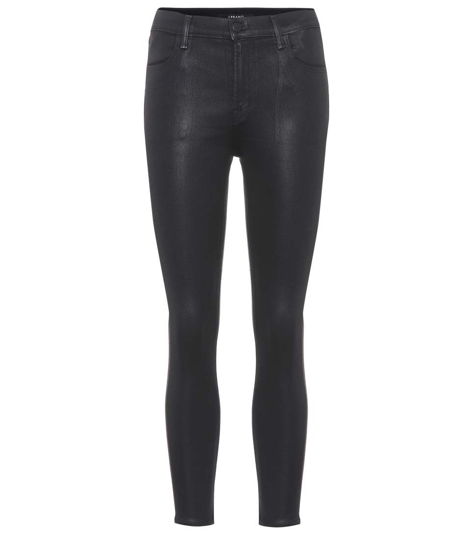 J Brand Alana High-waisted Coated Jeans In Black