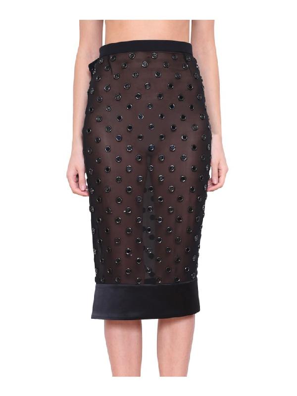 Givenchy AppliquÉ Silk Georgette Skirt In Nero