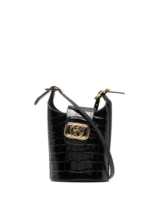 Lanvin Embossed Swan Bucket Bag In Black