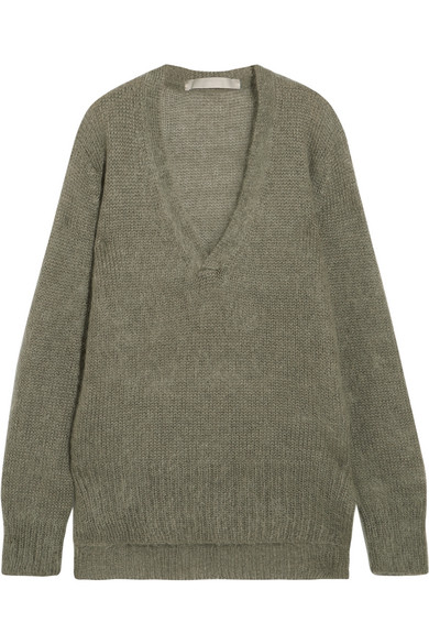 Dion Lee Oversized Mohair-blend Sweater In Army Green