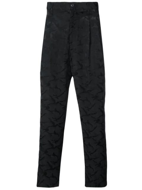 Yohji Yamamoto Camouflage Slim Trousers In Black