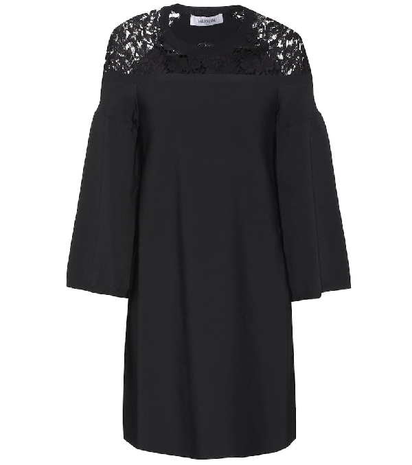 Valentino Lace Trimmed Dress In Black