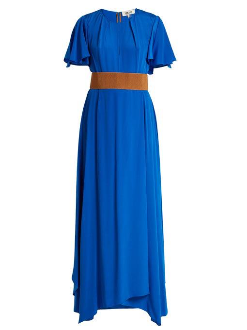 Diane Von Furstenberg Ruffle-sleeved Silk-crepe Gown In Cobalt-blue