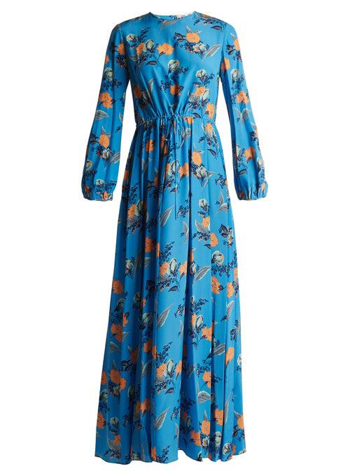 Diane Von Furstenberg Floral-print Silk Maxi Dress In Blue Print