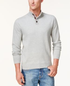 Tommy Hilfiger Men's Textured Polo Sweater, Created For Macy's In Sport Grey Heather