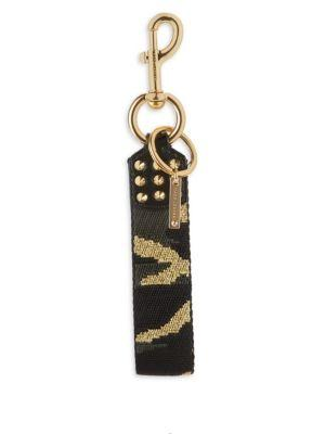 Marc Jacobs Camo Webbing Keychain In Black Multi