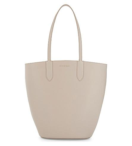 Alexander Mcqueen Small Leather Tote In Nude