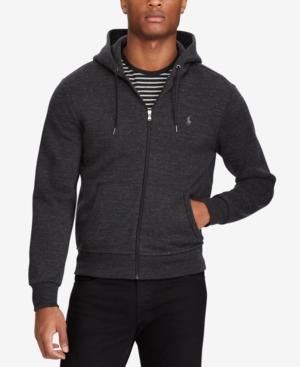 Polo Ralph Lauren Men's Big & Tall Double-knit Hoodie In Black Marl Heather