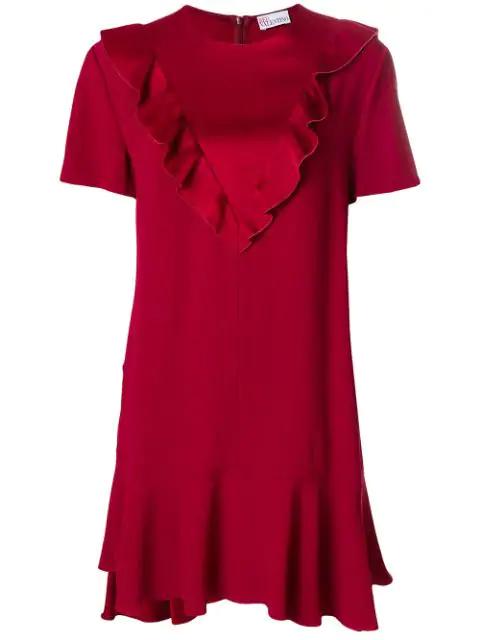 Red Valentino Short-Sleeve Ruffled Satin Crepe Dress In Cherry