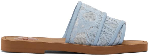 Chloé Women's Woody Square Toe Lace Logo Slide Sandals In 473 Ballad Blue