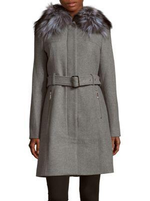 Michael Kors Natural Fox Fur Collar Long Coat In Grey