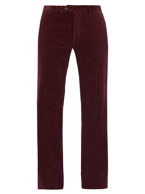 Valentino Straight-leg Corduroy Trousers In Burgundy
