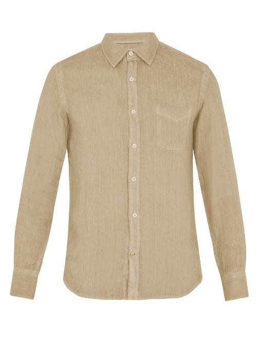 120% Lino Point-collar Linen Shirt In Light Brown