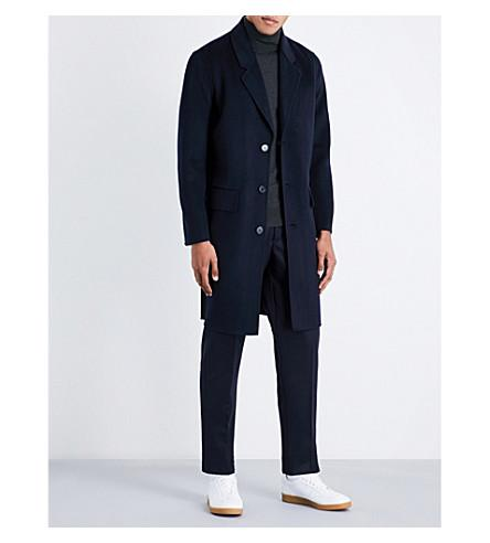 Sandro Single-breasted Wool And Cashmere-blend Coat In Black