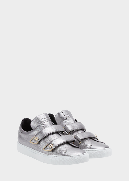 Versace Strap-on Laminated Leather Sneakers In Silver
