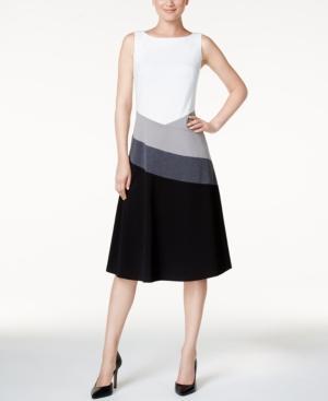 Calvin Klein Colorblocked A-line Dress In Black Multi