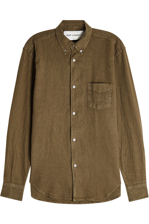 Our Legacy Linen-cotton Shirt In Green