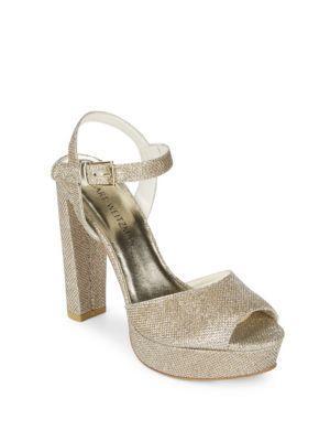 Stuart Weitzman Sashay Platform Sandals In Platinum