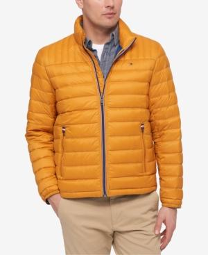 Tommy Hilfiger Men's Down Quilted Packable Logo Jacket In Gold