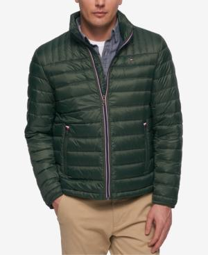 Tommy Hilfiger Men's Down Quilted Packable Logo Jacket In Green