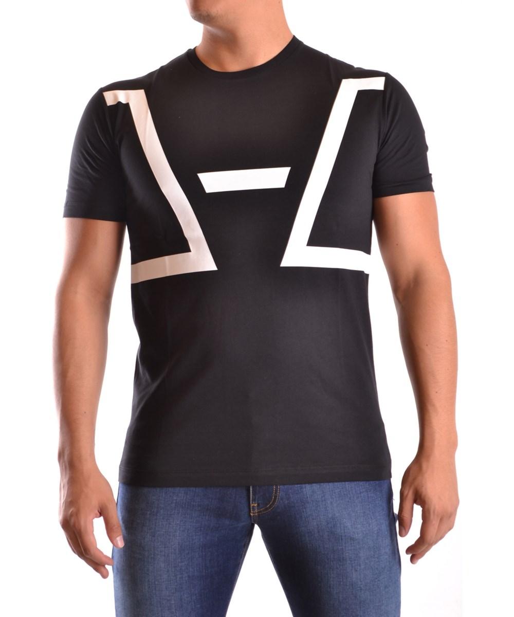 Les Hommes Men's  White/black Cotton T-shirt