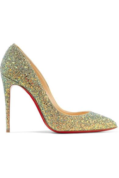 Christian Louboutin Pigalle Follies Dragonfly 100 Glittered Leather Pumps In Green
