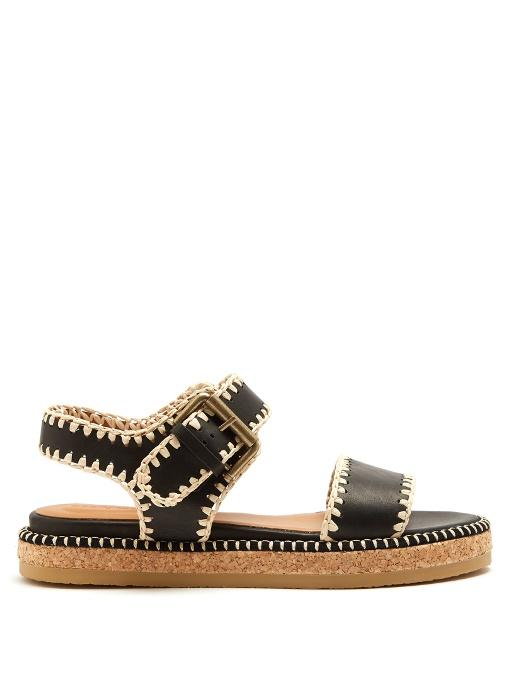 See By ChloÉ Blanket-stitch Embellished Leather Sandals In Black Cream
