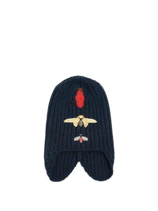 847771acbae Gucci Cusco Knit Beanie Hat W  Bug Appliques In Blue