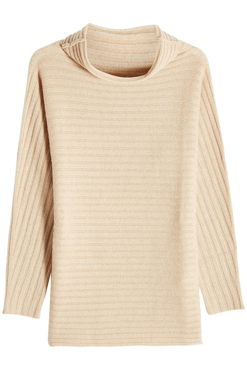 Max Mara Ribbed Cashmere Pullover In Beige