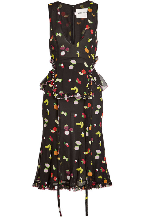 Sandy Liang Printed Silk Dress With Cut-out Details In Multicolored