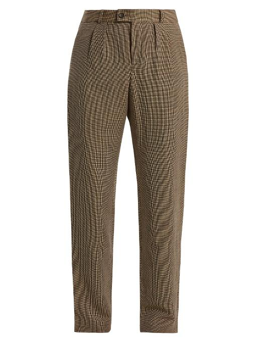 A.p.c. Marron Hound's-tooth Linen-blend Trousers In Brown Multi
