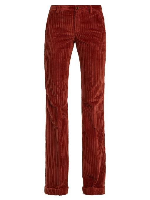 Miu Miu Mid-rise Flared-leg Corduroy Trousers In Dark Orange
