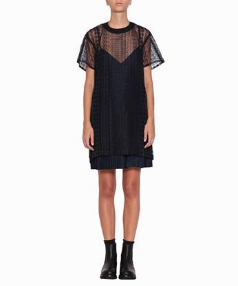 Sacai Lace Trimmed Pleated Cotton Dress In Blu