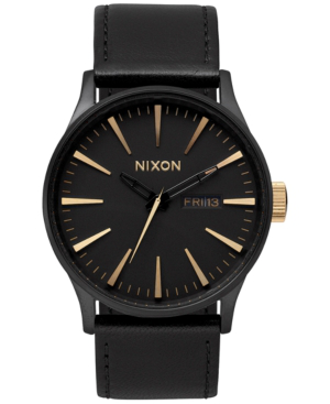 Nixon Men's Sentry Leather/canvas Strap Watch 42mm In Black