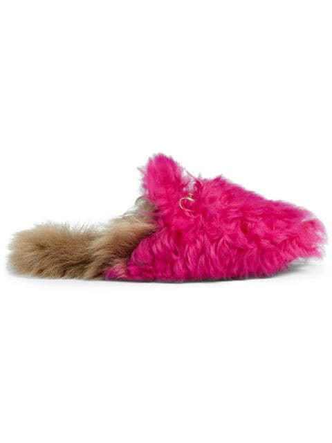 Gucci Princetown Merino Wool Slippers In Pink